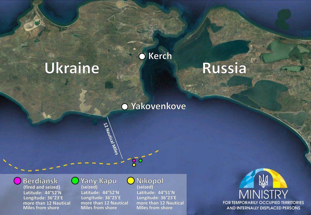 В чьих водах Россия напала на корабли Украины: интересные данные