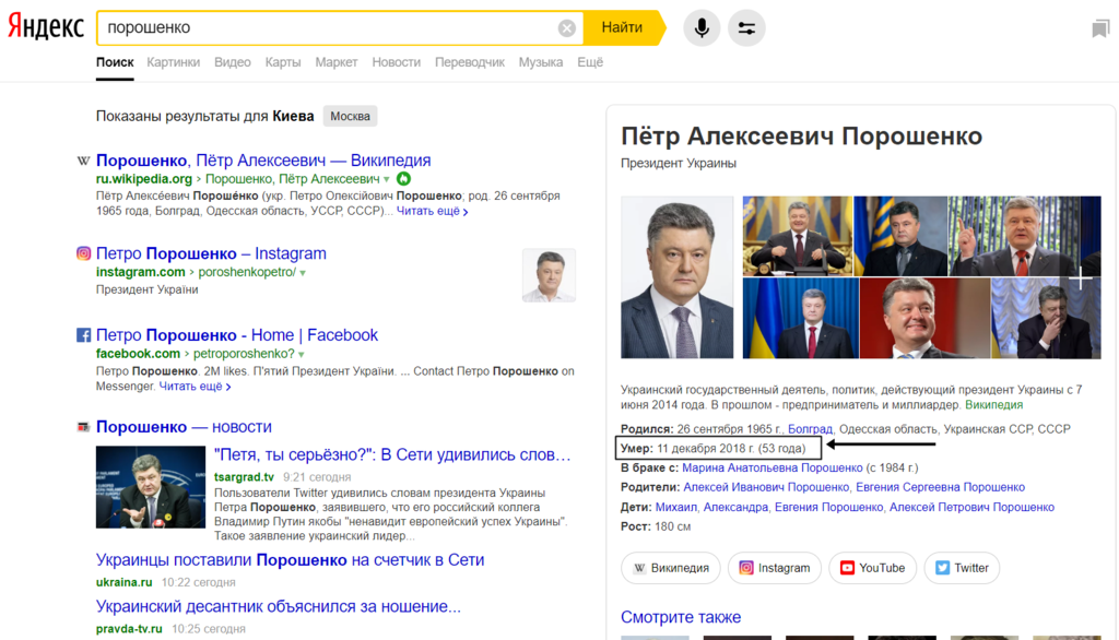 """""""Яндекс"""" вказав """"дату смерті"""" Порошенка"""