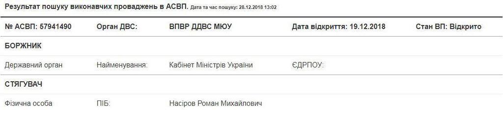 Минюст восстанавливает Насирова в должности главы ГФС