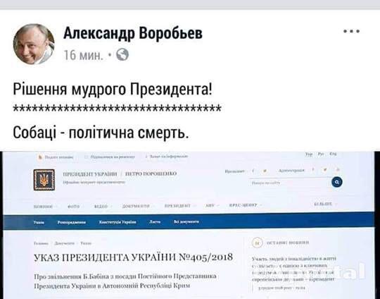 Пес Міша прокоментував реакцію на відставку постпреда Порошенка в Криму