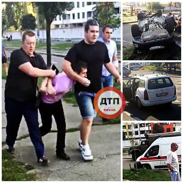 У Києві п'яний водій влаштував жахливу ДТП з перевертанням: фото і відео