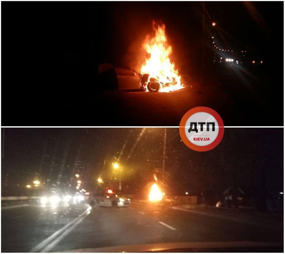 Утікав від поліції: в Києві сталася вогняна ДТП, фото