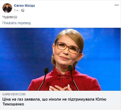 """От Тимошенко открестилась """"цена на газ"""""""