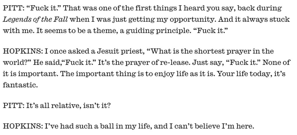 """""""Нах*й!"""" Брэд Питт перед известием о смерти научился короткой молитве"""
