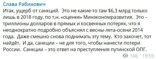 Трильйони доларів втрат путінської ОЗУ: Слава Рабинович про санкції проти Росії