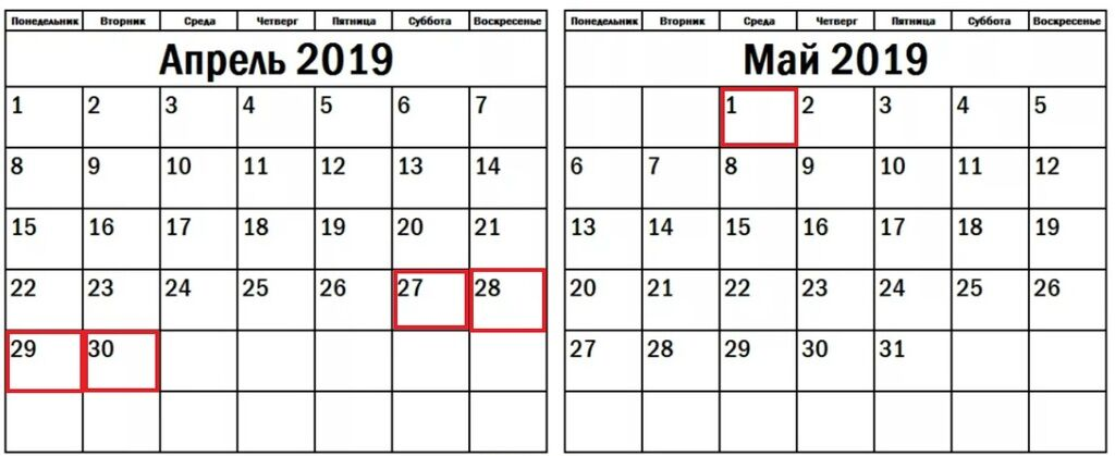 Вихідні в квітні 2019: який календар Україні