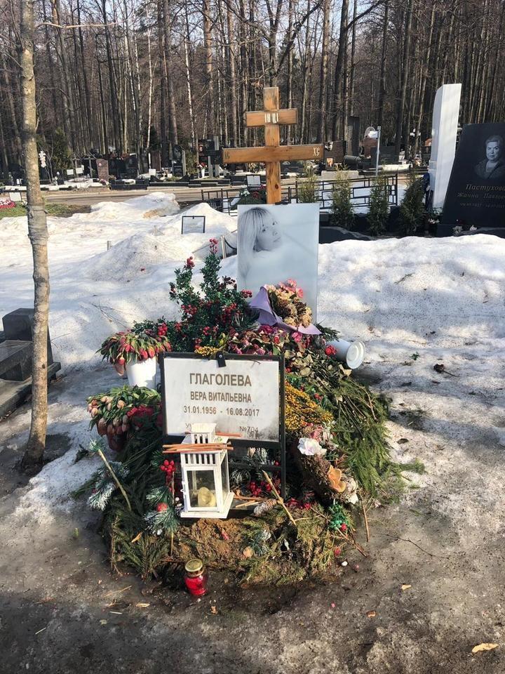 Могила Веры Глаголевой на Троекуровском кладбище в Москве