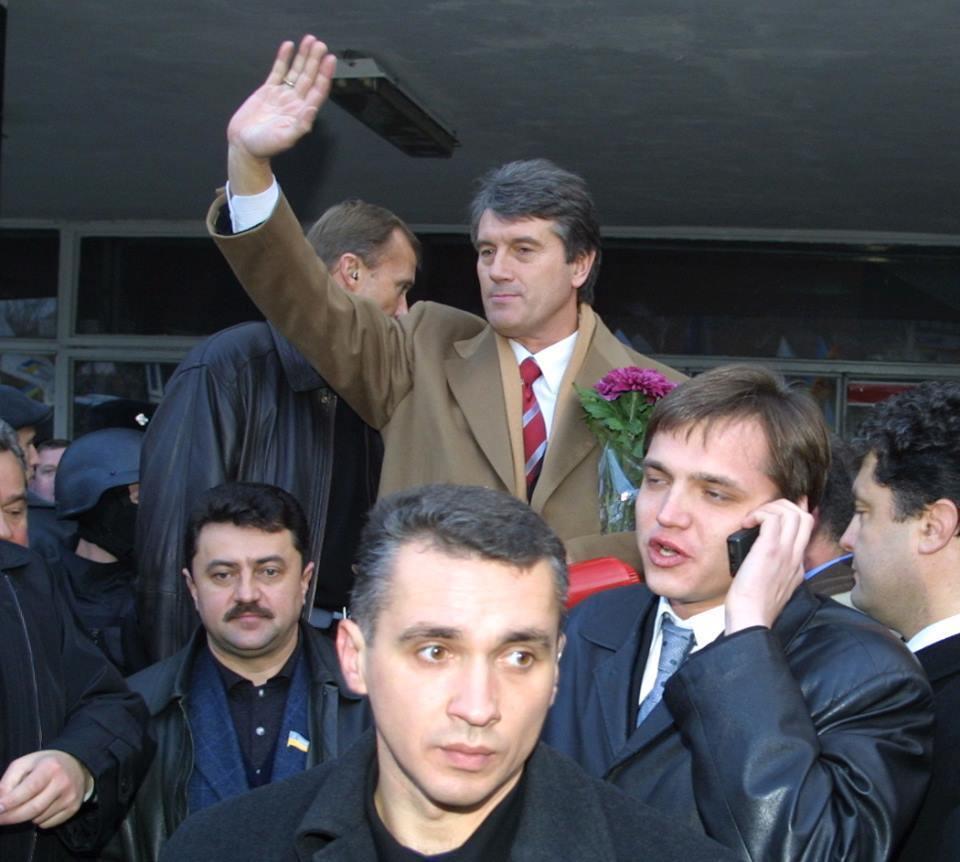 Петро Порошенко з Віктором Ющенком на мітингу в Донецьку в 2003 році