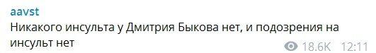 Инсульт Дмитрия Быкова опровергли
