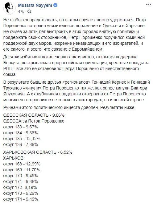 """""""Принизлива"""" поразку в Одесі і Харкові: Найєм розповів, як Кернес і Труханов """"кинули"""" Порошенка"""