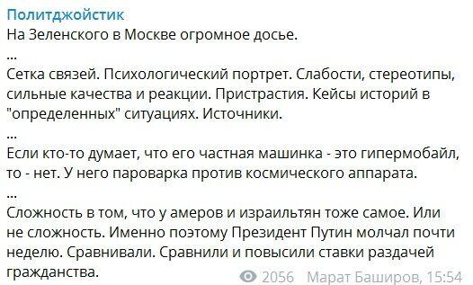 У Кремлі зібрали досьє на Зеленського? Що задумали у Путіна