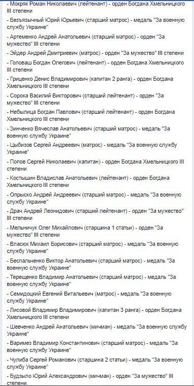Українським морякам, які потрапили в російський полон, дали нагороди