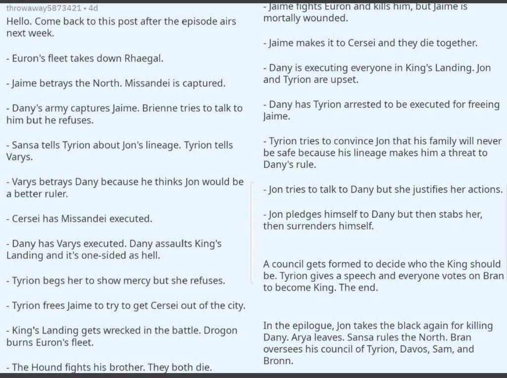 """""""Гра престолів"""", 8 сезон, 5 серія: дивитися злитий сценарій"""
