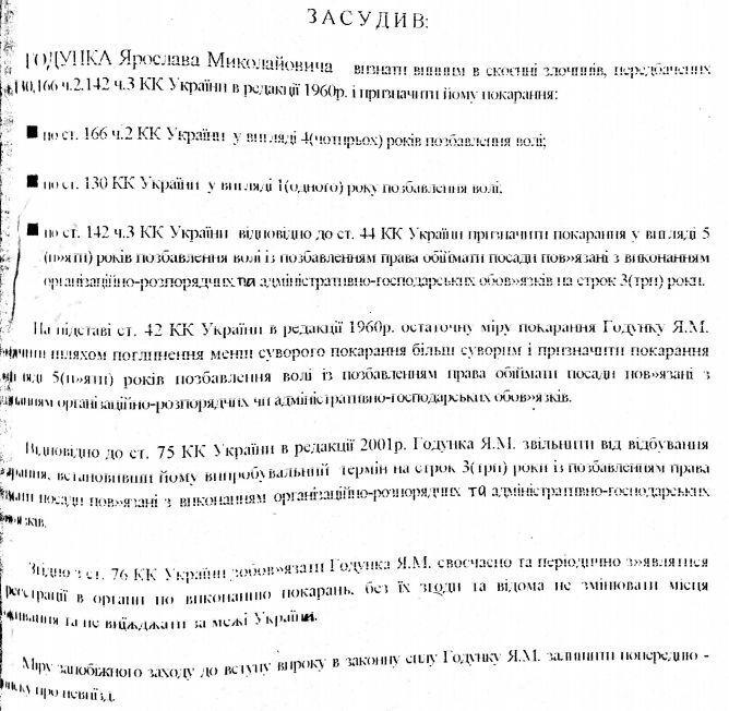 Ярослав Годунок: за что он был осужден, документ