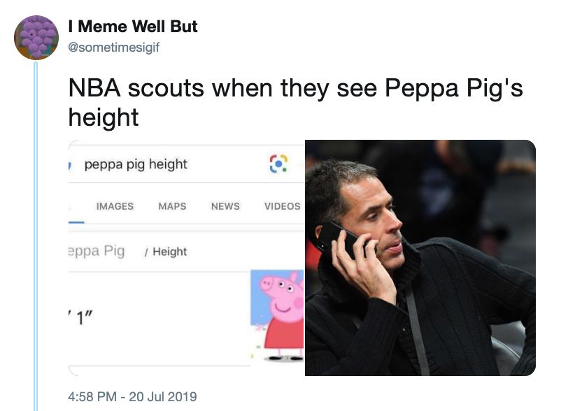 Вербувальники НБА, коли вони дізналися зріст свинки Пеппи
