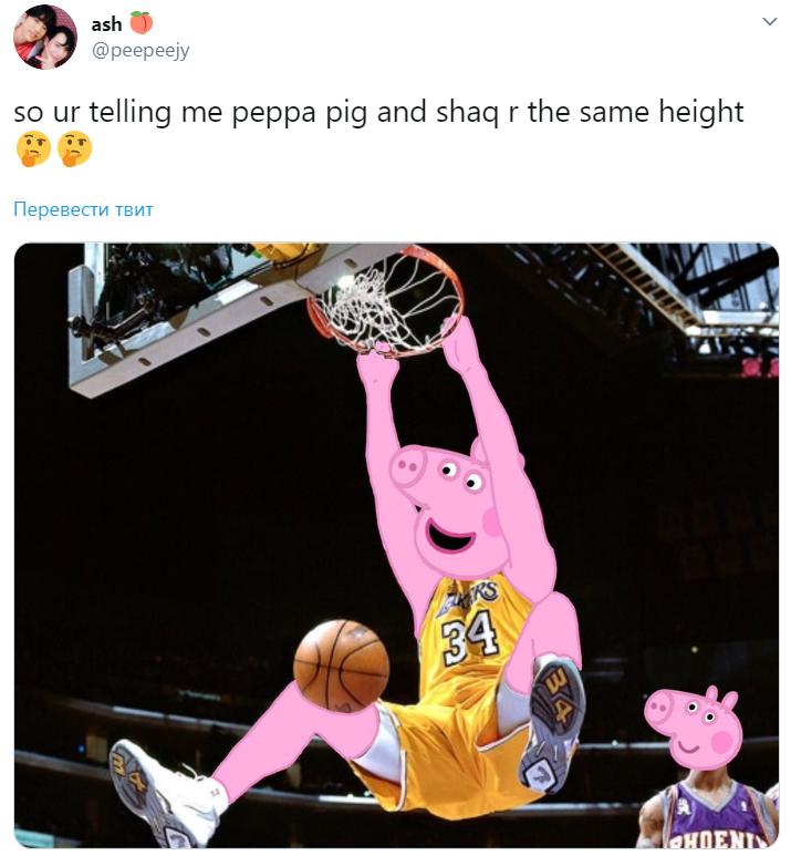 Тобто ви хочете сказати, що свинка Пеппа і Шакіл О'Ніл однакового зросту?
