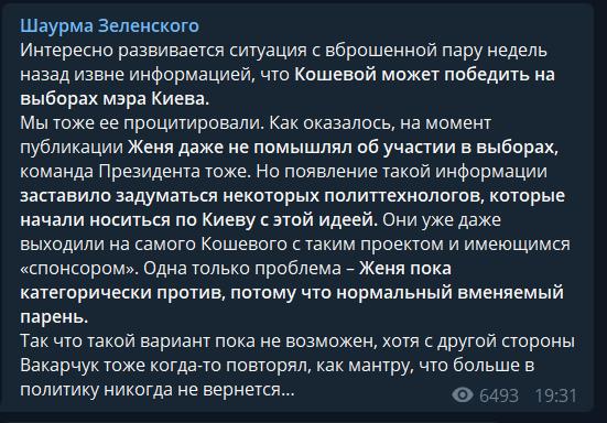 Кошовий може стати мером Києва? Опитування показало, що думають українці