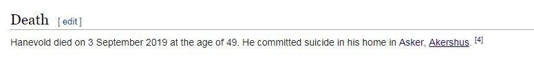 Хальвард Ханевольд помер: у Вікіпедії повідомили страшну причину