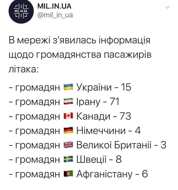 З'явилася інформація про пасажирів українського літака, який розбився в Ірані