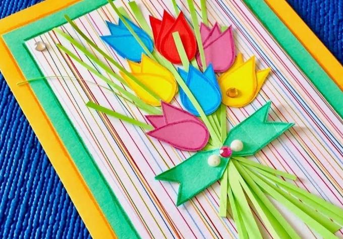 Как сделать простые и красивые открытки для поздравления с 8 марта своими руками