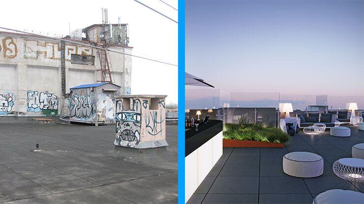 Ліворуч – дах зараз, праворуч – після реставрації