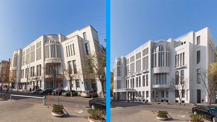 Ліворуч – нинішній стан, праворуч – візуалізація фасаду після реставрації