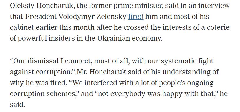 Гончарук: Зеленський звільнив мене через мою боротьбу з корупцією