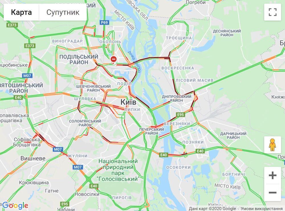 Киев после ослабления карантина сковали масштабные пробки: как объехать. Карта