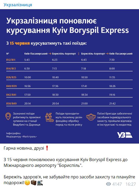 """Из Киева в """"Борисполь"""" снова запустили экспресс: какой маршрут поезда"""