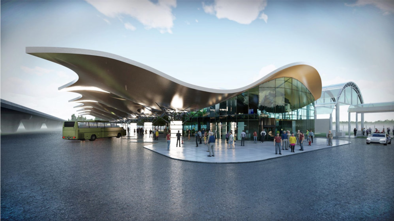 Футуристичний проект автостанції в аеропорту Бориспіль