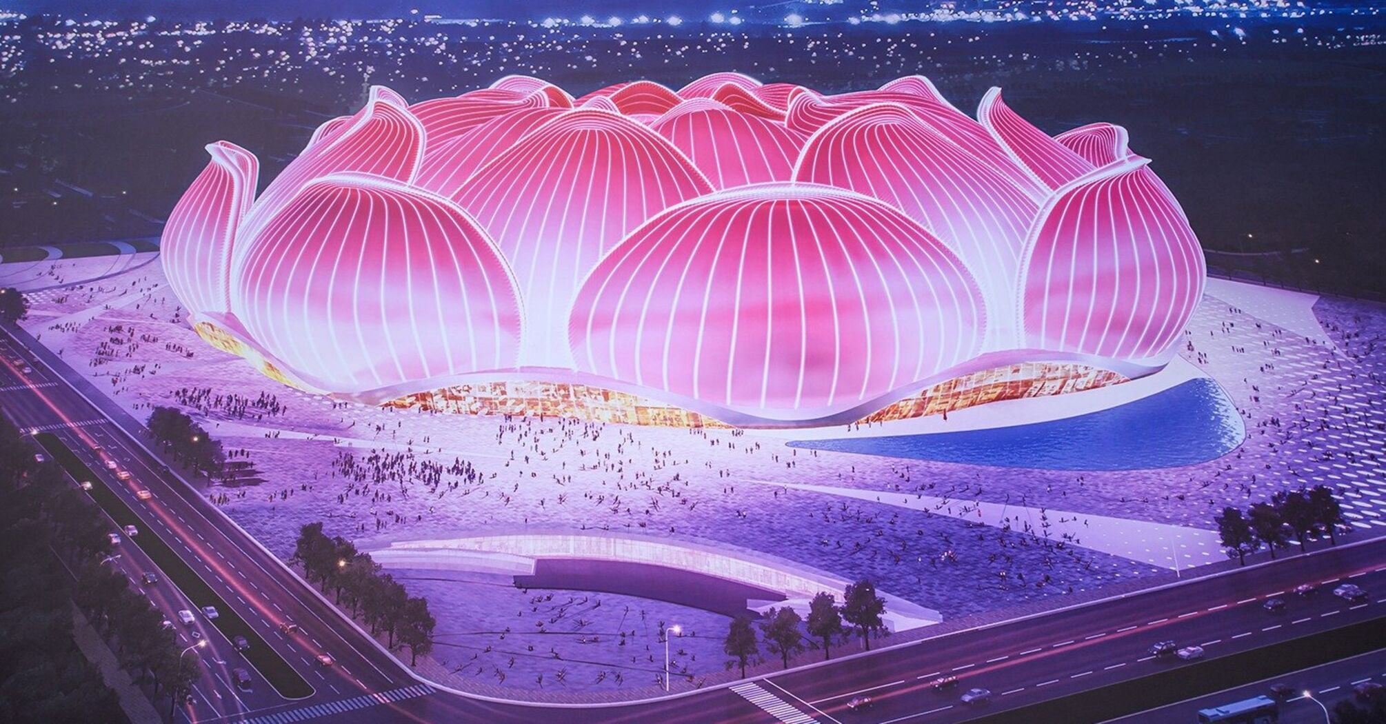 """У Китаї будують """"найбільший у світі"""" стадіон у формі квітки лотоса."""